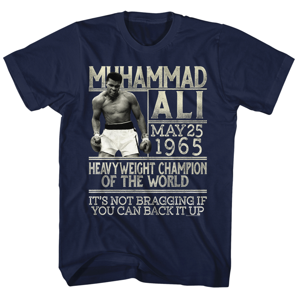 Muhammad ali shirt you can back it up navy blue t shirt for Where can i buy shirts