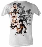 Muhammad Ali T-shirt Adult 3 Poses White Tee Shirt