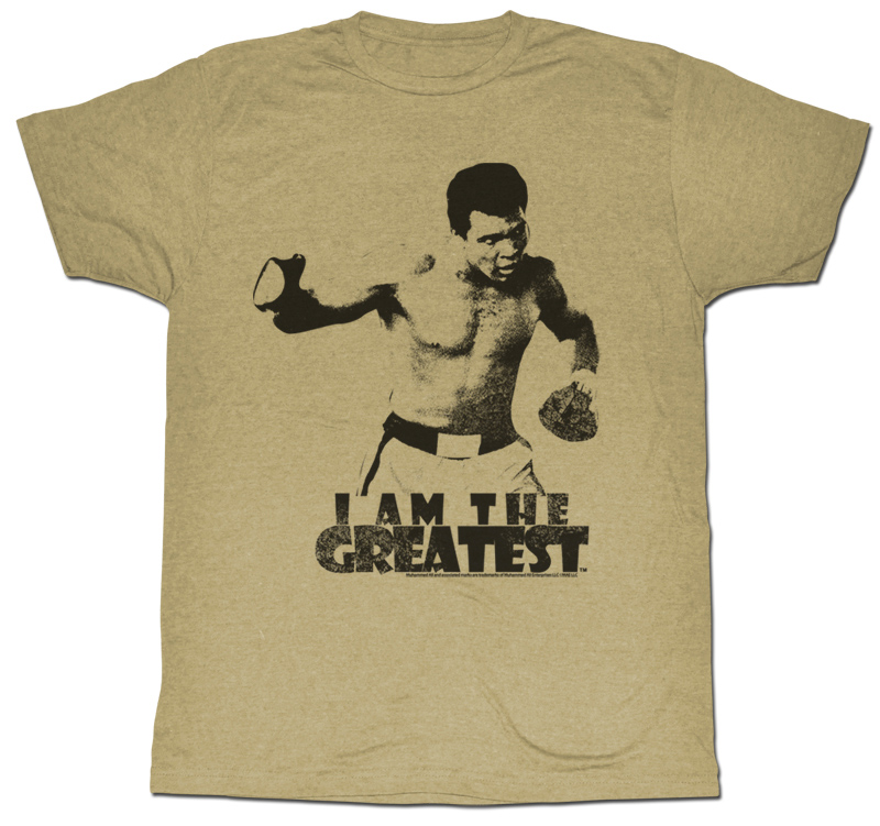 muhammad ali t shirt i am the greatest adult grey tee. Black Bedroom Furniture Sets. Home Design Ideas