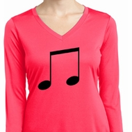 Music 8th Note Ladies Dry Wicking Long Sleeve Shirt