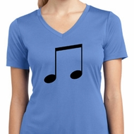 Music 8th Note Ladies Moisture Wicking V-neck Shirt
