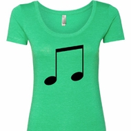 Music 8th Note Ladies Scoop Neck Shirt