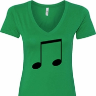 Music 8th Note Ladies V-Neck Shirt