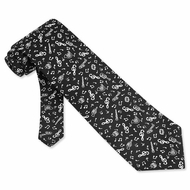 Music Composition Tie Black Microfifber - Mens Music Neck Tie