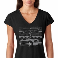 Mustang with Grill Ladies Ford Shirts