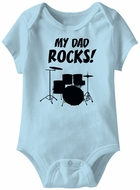 My Dad Rocks! Funny Baby Romper Light Blue Infant Babies Creeper