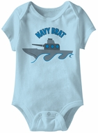Navy Brat Funny Baby Romper Light Blue Infant Babies Creeper