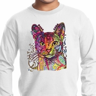 Neon Abyssinian Cat Kids Long Sleeve Shirt