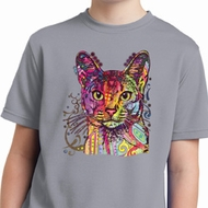 Neon Abyssinian Cat Kids Moisture Wicking Shirt