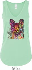 Neon Abyssinian Cat Ladies Flowy V-neck Tanktop