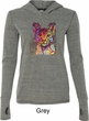 Neon Abyssinian Cat Ladies Grey Tri Blend Hoodie Shirt