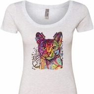 Neon Abyssinian Cat Ladies Heather White Scoop Neck Shirt