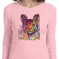 Neon Abyssinian Cat Ladies Long Sleeve Shirt