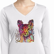 Neon Abyssinian Cat Ladies Moisture Wicking Long Sleeve Shirt
