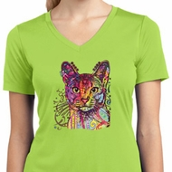 Neon Abyssinian Cat Ladies Moisture Wicking V-neck Shirt