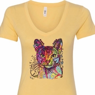 Neon Abyssinian Cat Ladies V-Neck Shirt