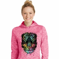 Neon Dripping Neon Tiger Ladies Moisture Wicking Hoodie
