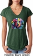 Neon Golden Retriever Ladies Tri Blend V-Neck Shirt