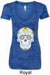 Neon Sugar Skull Ladies Burnout V-neck Shirt