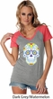 Neon Sugar Skull Ladies Contrast V-Neck Shirt
