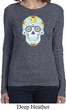 Neon Sugar Skull Ladies Long Sleeve Shirt