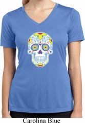 Neon Sugar Skull Ladies Moisture Wicking V-neck Shirt