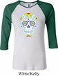 Neon Sugar Skull Ladies Raglan Shirt