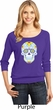 Neon Sugar Skull Ladies Three Quarter Sleeve Scoop Neck Shirt