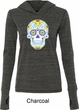 Neon Sugar Skull Ladies Tri Blend Hoodie Shirt