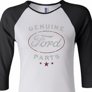 New Genuine Ford Parts Ladies Black Red Raglan Shirt