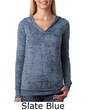 Next Level Ladies Hoodie V-Neck Burnout Lightweight Poly/Cotton Hoody