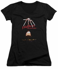 Nightmare On Elm Street Juniors V Neck Shirt Alternate Poster Black T-Shirt