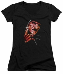 Nightmare On Elm Street Juniors V Neck Shirt Freddy's Face Black T-Shirt