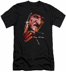 Nightmare On Elm Street Slim Fit Shirt Freddy's Face Black T-Shirt