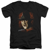 Nightmare On Elm Street Slim Fit V-Neck Shirt Freddy Krueger Black T-Shirt