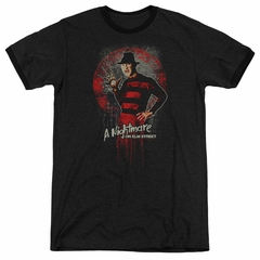 Nightmare On Elm Street Springwood Slasher Black Ringer Shirt