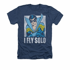 Nightwing DC Comics Shirt Fly Solo Adult Heather Navy Blue Tee T-Shirt