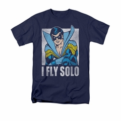 Nightwing DC Comics Shirt Fly Solo Adult Navy Blue Tee T-Shirt