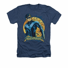 Nightwing DC Comics Shirt Moon Adult Heather Navy Blue Tee T-Shirt