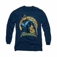 Nightwing DC Comics Shirt Moon Long Sleeve Navy Blue Tee T-Shirt