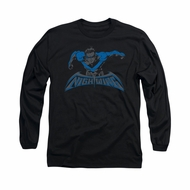 Nightwing DC Comics Shirt Wing Of The Night Long Sleeve Black Tee T-Shirt