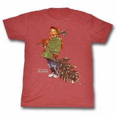 Norman Rockwell Shirt Christmas Tree Red Heather T-Shirt
