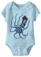 Octopus Funny Baby Romper Light Blue Infant Babies Creeper