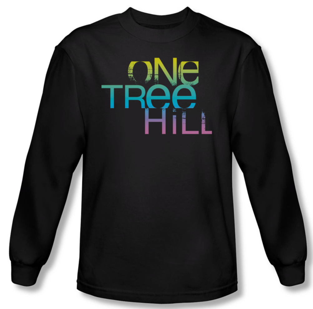 One tree hill shirt color blend logo long sleeve black tee for One color t shirt