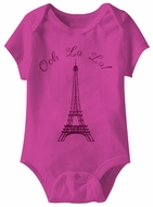 Ooh La La Eiffel Tower Funny Baby Romper Hot Pink Infant Babies Creeper