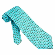 Palm Tree Siesta Tie Aqua Blue Silk Necktie Mens Occupational Neck Tie