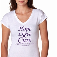 Pancreatic Cancer Hope Love Cure Ladies Tri Blend V-neck
