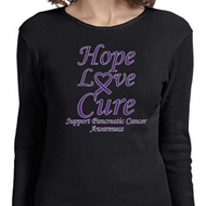 Pancreatic Cancer Tee Hope Love Cure Ladies Long Sleeve