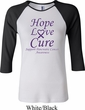 Pancreatic Cancer Tee Hope Love Cure Ladies Raglan Shirt