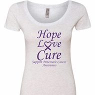 Pancreatic Cancer Tee Hope Love Cure Ladies Scoop Neck